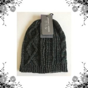 {Threads 4 Thought} Dark Green Cable Knit Beanie